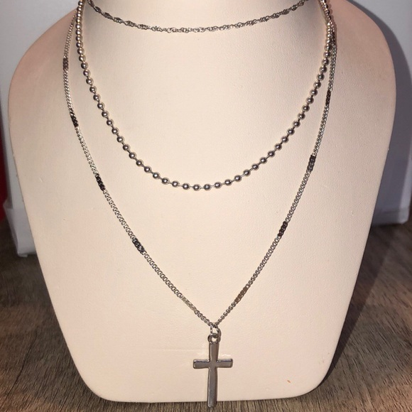 Jewelry - Triple Layer Chain Cross Necklace